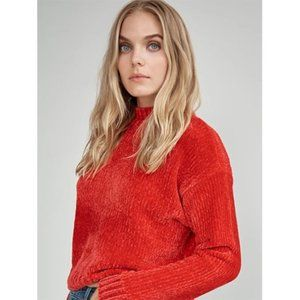 NWT Sanctuary Chenille Mock Neck Sweater in Red S